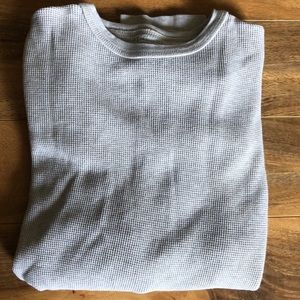 Cream Waffle Knit Men's Thermal LS Tee